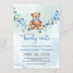 Teddy Bear Eucalyptus Wreath Boy Baby Shower Invitation