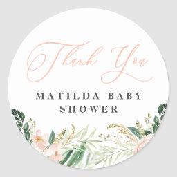 Thank You Blush Floral Baby Shower Favour Classic Round Sticker