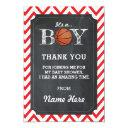 Thank You Boy Basketball Invitations Chalk Red Chevron