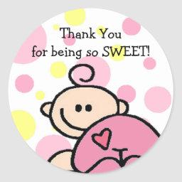 Thank You Tickled Pink Girl Classic Round Sticker