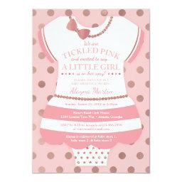 Tickled Pink Baby Shower Invitation, Faux Glitter