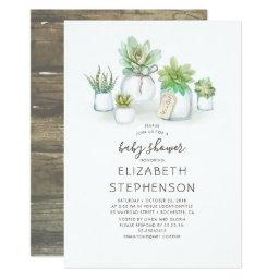 Tiny Succulents Mason Jars Rustic Baby Shower Invitation