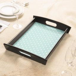 """Traditional Designs"" Polka Dot/ Lg Aqua & White Serving Tray"