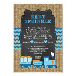TRAIN BOY baby sprinkle / burlap chalkboard RUSTIC