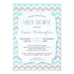 Trendy Blue Grey BOY Baby Shower