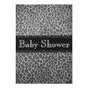 Trendy Gray Leopard Print Baby Shower Invitation