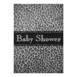 Trendy Gray Leopard Print Baby Shower