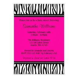 Zebra baby shower invitations babyshowerinvitations4u trendy hot pink zebra girl baby shower invitations filmwisefo