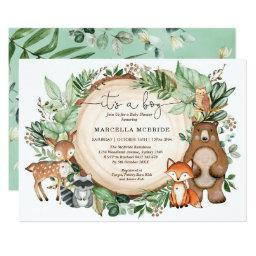 Trendy Woodland Greenery Animals Boy Baby Shower Invitation