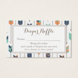 Tribal Arrows Boy  Diaper Raffle Ticket
