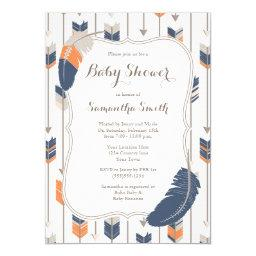 Tribal Feather Arrows Baby Shower Navy Orange Invitations