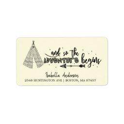 Tribal Teepee Adventure Baby Shower Address Label