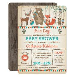 Tribal Woodland Baby Shower Rustic Forest Animals Invitation