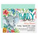 Tropical Baby Shower Invitation, Elephant Invitation