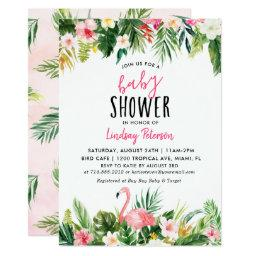 Tropical Flamingo Baby Shower Invitation Invitations