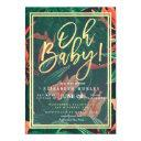 Tropical Floral Gold Frame Hawaiian Baby Shower Invitation
