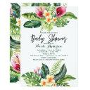 Tropical Flowers & Leaves Floral Baby Shower