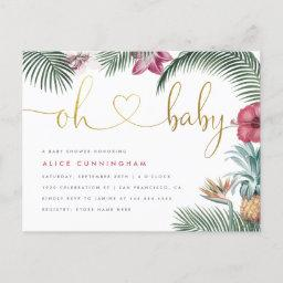 Tropical Foliage Oh Baby Gold Script Baby Shower Invitation Postinvitations
