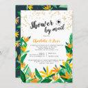 Tropical Glitter Watercolor Baby Shower By Mail Invitation