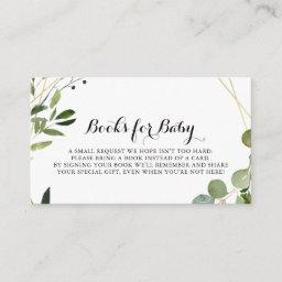 Tropical Gold Calligraphy Baby Shower Book Request Enclosure Card