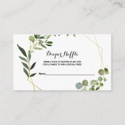 Tropical Green Leaves Diaper Raffle Enclosure Card