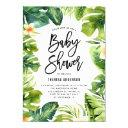 Tropical Greenery And Plumeria Baby Shower Invitation