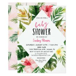 Tropical Leaves Luau Baby Shower Invitationss