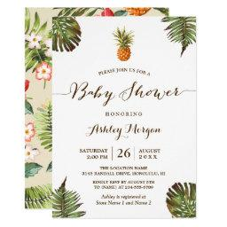Tropical Leaves Pineapple Summer Baby Shower