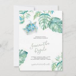 Tropical Leaves Sea Turtle Baby Shower