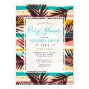 Tropical Palm Leaves Summer Stripes Baby Shower Invitation