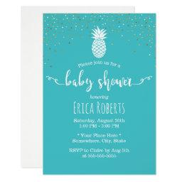 Tropical Pineapple Baby Shower Modern Turquoise