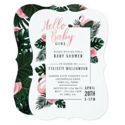 Tropical Pink Flamingo Rose Baby Shower Invitation