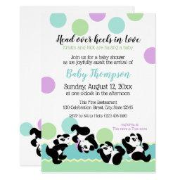 Tumbling Pandas Baby Shower Invitation
