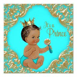 Turquoise Blue Gold Ethnic Prince Baby Shower