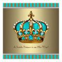 Turquoise Blue Gold Prince Baby Shower