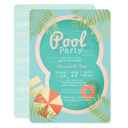 Turquoise Blue Pool Party Baby Shower Invitation
