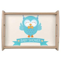 Turquoise Blue & Purple Boy Owl  Serving Tray