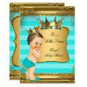 Turquoise Brunette Baby Shower Prince Baby Boy Invitation
