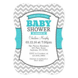 Turquoise Teal Gray Chevron Baby Shower