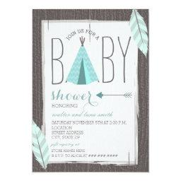 Turquoise Tipi + Feathers Baby Shower Invitation