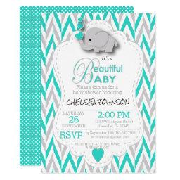Turquoise, White & Gray Elephant Baby Shower