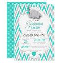 Turquoise, White & Gray Elephant Baby Shower Invitations
