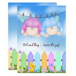 Twin Baby Shower-babies On Clothesline Invitations