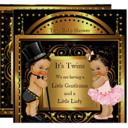 Twin Baby Shower Boy and Girl Gold Brunette
