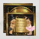 Twin Baby Shower Boy And Girl Gold Brunette Invitation