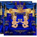 Twin Baby Shower Boy Prince Blue Gold Invitation
