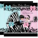 Twin Baby Shower Cute Girl Pink Boy Blue Zebra 2 Invitation
