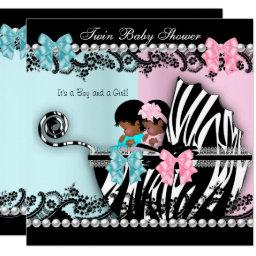 Twin Baby Shower Cute Girl Pink Boy Blue Zebra 4 Invitation