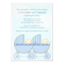 Twin Boy Blue Carriage Happy Baby Shower Invitation