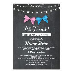 Twin Boy Girl Baby Shower Gender Reveal Bow Invite